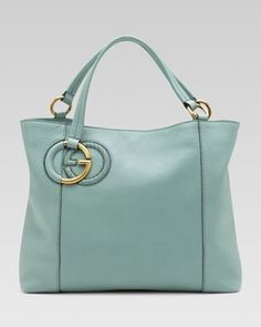 Gucci Twill Leather Tote, Splash/Pool Water in January Fashion 2013 from Neiman Marcus on shop.CatalogSpree.com, my personal digital mall.