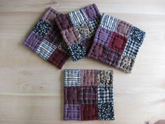Quilted Coasters Fabric Coasters Primitives Country Decor