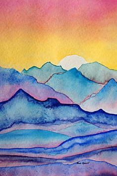 Landscape drawing easy, watercolor beginner, watercolor water, watercolour for Watercolor Beginner, Watercolor Paintings For Beginners, Watercolor Projects, Watercolour Tutorials, Watercolor Techniques, Watercolour Painting, Painting & Drawing, Image Painting, Watercolors