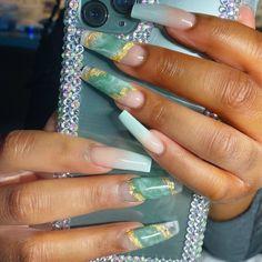 Mint Nail Designs, Long Nail Designs Square, Mint Acrylic Nails, Mint Nails, Lime Green Nails, Mint Green, Emerald Nails, Wave Nails, Nails Design With Rhinestones