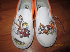 Calvin and Hobbes custom vans. $115.00, via Etsy.