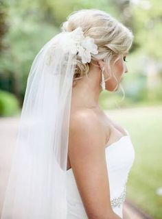 Image result for how to wear a wedding veil with hair up
