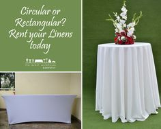 Circular or Rectangular? Rent your Linens today! For more visit - http://chk.to/hqC1wzE #theeventwarehouse #rentals #linens