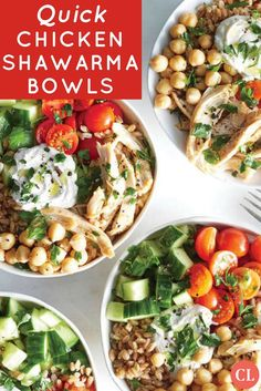 This Middle Eastern-inspired bowl is all about big flavor with minimal effort. A garlicky, tahini-spiked yogurt brings all the elements together and takes just minutes to make. Assemble a few bowls at the beginning of the week for easy make-ahead lunches. Indian Food Recipes, Real Food Recipes, Cooking Recipes, Healthy Recipes, 30 Min Meals, Full Meals, Cucumber Recipes, Chickpea Recipes, Nutrition