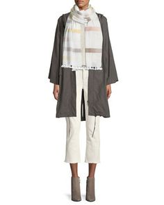 -7JLC Eileen Fisher  Hooded Organic Cotton/Nylon Anorak Jacket Organic Linen-Blend Side-Slit Top Stretch Organic Cotton Boyfriend Jeans