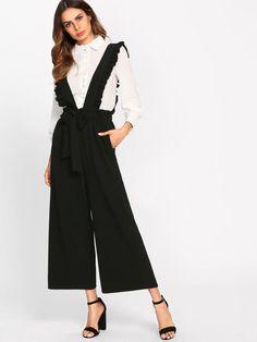 09933c3664 Bow Tie Culotte Pants With Ruffle Strap. Business FashionFashion StylesLove FashionWomens  FashionPants OutfitDress OutfitsDressesFall ...