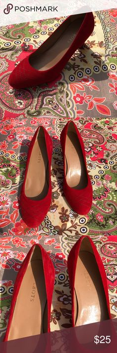"""Red suede Talbots pumps Talbots red suede pumps Size 8B stitching on front of shoes. 2 1/2 """" heel. In very good condition. Slight scuffingPlease See pictures and ask any questions Talbots Shoes Flats & Loafers"""