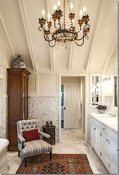 The tile and ceilings and furniture pieces make this a true retreat - via Cote de Texas