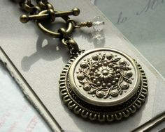 LUXE Antique Button Necklace  Super Large Medallion design 1800's Victorian Button necklace by veryDonna, $92.00