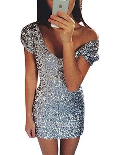 Grapent Womens Bodycon Sexy Silver Sequin V Neck Mini Short Dress Party  Cocktail US 4   211db48d6898