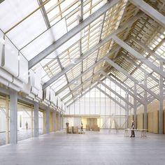 TEd'A . ROAD CENTRE . GENTHOD (2) ruimte loft lichtinval daklicht loods structuur interieur