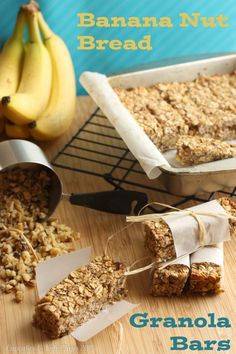 Banana nut bread granola bars are a healthy gluten free snack that parents can feel good about giving to their kids! Get the delicious, easy recipe here! Breakfast Recipes, Snack Recipes, Cooking Recipes, Breakfast Bars, Breakfast Ideas, Healthy Snaks, Banana Nut Bread, Granola Bars, Banana Granola