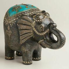 Turquoise Terracotta Elephant Bank