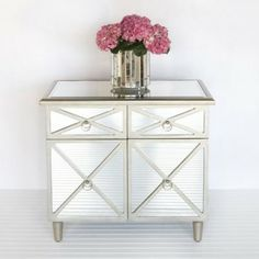 Claude Chest Side Table Mirrored Furniture by Worlds Away - eclectic - dressers chests and bedroom armoires - Clayton Gray Home