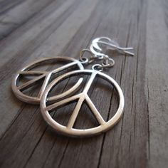 Peace Sign Earrings - Peace Sign Jewelry - Silver Jewelry - Everyday Jewellery - Dangle Pierced Symbol Round ER-