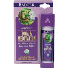 Yoga & Meditation Aromatherapy Balm by Badger. Easy to use, and smells great! This special blend of essential oils work to bring a deep rooted centering and grounding experience, essential to the practices of Yoga & Meditation.