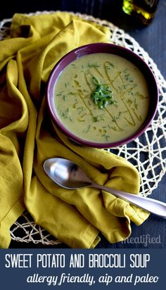 Sweet Potato and Broccoli Soup from http://meatified.com. Allergen friendly, dairy free, AIP, paleo & Whole30 friendly!
