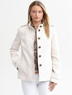 Love this soft ivory textured cotton jacket with its military styling   Banana Republic