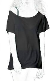 Black or White, Off-Shoulder Sheer Batwing Sleeve Top made from organic, skin-friendly material.