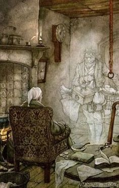 "I love ""A Christmas Carol!"" Scrooge meets Marley's ghost in Charles Dickens's A Christmas Carol. Illustration is by Anton Pieck Christmas Carol Charles Dickens, Anton Pieck, Photo D Art, Dutch Painters, Dutch Artists, Christmas Art, Book Illustration, Illustrators, Fairy Tales"
