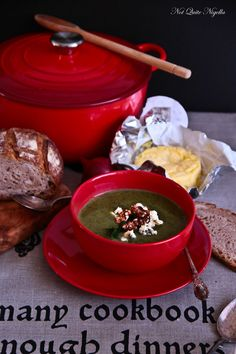 "Broccoli, Spinach & Blue Cheese Soup with Walnut ""Croutons"" soups for winter - Not Quite Nigella"