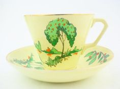 BCM clarence ware art deco fine english bone china cup and saucer  tea party....make it yours!