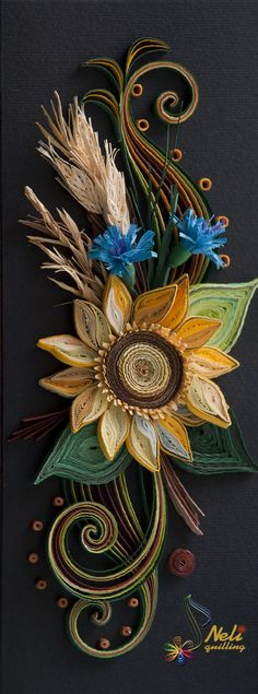 Quilling card-black &...sunflower