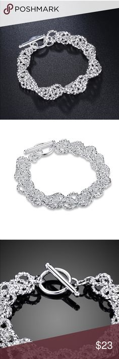 """NEW SPIRAL MESH BRACELET NEW 925 STERLING SILVER SPIRAL MESH BRACELET TOGGLE CLOSURE APPROX 8"""" includes velvet gift box Jewelry Bracelets"""