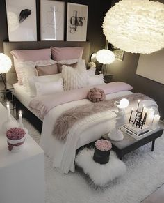 dream rooms for adults ; dream rooms for women ; dream rooms for couples ; dream rooms for adults bedrooms ; dream rooms for girls teenagers Cute Bedroom Ideas, Bedroom Inspo, Bedroom Inspiration, Bedroom Setup, Room Decor Bedroom Rose Gold, Bedroom Lighting, Fashion Inspiration, Grey Bed Room Ideas, Bedroom Decor Elegant