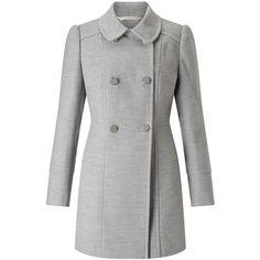 Miss Selfridge PETITE Grey Pea Coat ($105) ❤ liked on Polyvore featuring outerwear, coats, jackets, coats & jackets, jackets/vests, mid grey, petite, peacoat coat, gray peacoat and pea coat