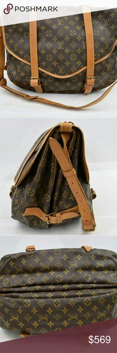 Louis Vuitton Saumur43 Monogram Shoulder Bag 10343 Outside: Minor cracks on the leather parts,Minor rubs on the leather parts,Minor scratches on the leather parts,Minor stains on the leather parts,Minor spots on the leather parts. Shoulder: rubs on the whole parts,Minor scratches on the whole parts. Bottom: Minor rubs at the all of corners. Inside: Major stains on the whole parts,Noticeable copper rust on the root of the handle metal parts. Minor storage odor in the lining parts. H:11.8…