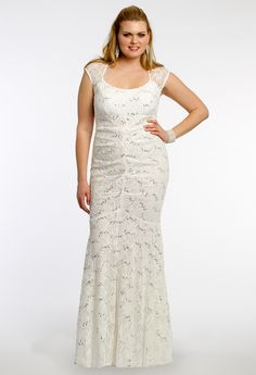 Plus Size Sequin Lace Dress with Cap Sleeves