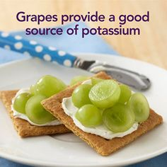 Want a crunchy, sweet treat that's quick and easy to whip together? Spread 1 tablespoon light cream cheese on 2 graham cracker squares and top with 1/4 cup halved grapes.