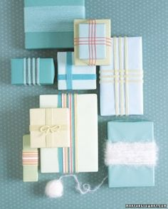 Tip #2 in the series from Domino Magazine for a perfectly run household is about having a signature color and wrapping style. If you pick something that can be used for all occasions you can load up on paper and ribbon and save yourself money and space by streamlining the wrapping.