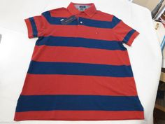 Mens Tommy Hilfiger Polo shirt S Striped NEW 7861233 Vintage Red 645 Custom Fit #TommyHilfiger #polo