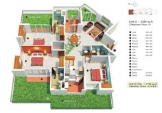 Also includes links to 50 1 bedroom, 2 bedroom, and studio apartment floor plans. Three Bedroom House Plan, Bedroom Floor Plans, 3d House Plans, Small House Plans, Studio Apartment Decorating, Apartment Design, Sims 3 Houses Ideas, Bungalow, Futuristisches Design