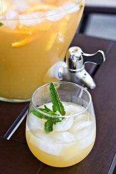 3 cups pineapple juice  1 bottle dry white wine, such as Chardonnay or Sauvignon Blanc  1 cup brandy (pear brandy or apricot brandy will work)  1 ripe pineapple, cut into 1-inch chunks  1 cup pineapple soda  1 bunch fresh mint, roughly chopped  1 orange, sliced