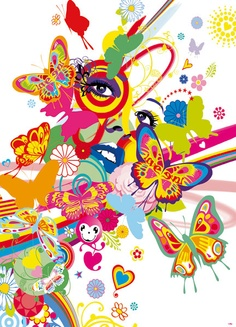 Rainbow Colour Face Mural image