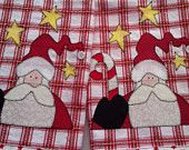 Christmas Santa Candy Cane Red & White Kitchen Towels $25