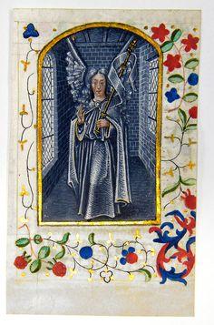 Stundenbuch Blatt Erzengel Raphael 1480 - Antiquariat und Kunsthandel Neumann