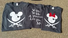 Yo Ho Yo Ho A Pirates For Me  Pirate Disney Shirts for the whole Family!  Your choose of Minnie or Mickey on the Front and Yo Ho Yo Ho A Pirate Life For Me on the back of the shirt!  Shirts can coming in many sizes and short or long sleeves!  Shirts Youth & Adult comes in Dark Heather Gray Toddler Shirts 6m - 5/6T - Comes in Charcoal  If you have any questions or would like us to make a custom design for you please let us know!  Thanks,  Giggles & Grins Boutique