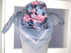 Jim Renoir Scarf French Designer Scarf Large Square Scarf Grey Pink Blue Floral Design Pastel Colors Big Roses Lilies Forget-me-not flowers Pink And Blue Flowers, Purple Lilac, Organza Bridal, Designer Scarves, Floral Scarf, T Shirt And Jeans, Renoir, Square Scarf, Headband Hairstyles