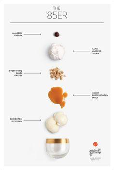 The Cloverton ice cream, Honey Butterscotch sauce, Everything Bagel Gravel, hand-whipped cream, and an Amarena cherry. Graphisches Design, Layout Design, Web Layout, Packaging Design, Branding Design, Butterscotch Sauce, Food Menu Design, Magazin Design, Grafik Design