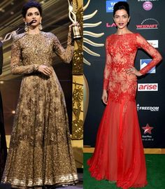 Deepika Padukone in Sabyasachi Mukherjee at the IIFA Awards 2014 and in a ZUHAIR MURAD on the right! Source: Getty  IIFA Digitally print your own unique fabric and style your own wardrobe in India.#digitalprint #india #digitalprintfabric www.chimoraprint.com #fashion #style