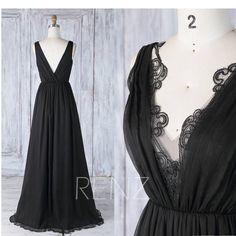 2017 Black Chiffon Bridesmaid Dress, V Neck Scalloped Lace Wedding Dress, A Line Party Dress, Long Evening Gown, Cocktail Dress Floor (H492)