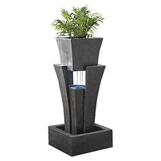 Jeco FCL048 Raining Water Fountain With Planter With Led Light >>> Click on the image for additional details. (This is an affiliate link and I receive a commission for the sales) #OutdoorFurniture