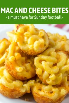 These Mini Macaroni and Cheese Bites are the perfect easy game day appetizer. Easy, cheesy, and full of flavor, everyone will love this bite size form of macaroni and cheese! #macncheese #gamedayfood #gamedayrecipes #fingerfood #partyfood Game Day Appetizers, Appetizers For A Crowd, Thanksgiving Appetizers, New Recipes, Dinner Recipes, Favorite Recipes, Party Recipes, Delicious Recipes, Mac And Cheese Bites