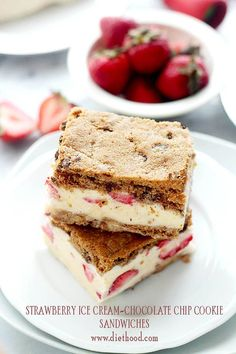 Strawberry Ice Cream-Chocolate Chip Cookie Sandwiches: Nestling your favorite homemade Strawberry Ice Cream between Chocolate Chip Cookiesis never a bad thing!