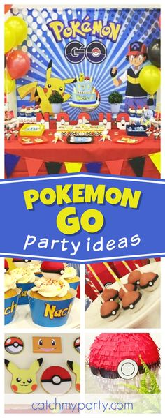 Take a look at this fun Pokemon Goi birthday party! The cookies are awesome!! See more party ideas and share yours at CatchMyParty.com