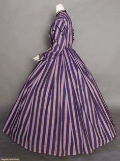 PURPLE STRIPE DAY DRESS, 1860s